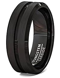 Mens Wedding Bands Black Tungsten Ring Brushed with Center Groove and Beveled Edges
