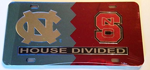 UNC North Carolina Tar Heels - NC State Wolfpack - House Divided Mirrored Car Tag License Plate (Divided Unc House)