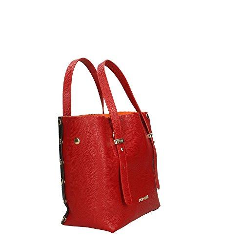 in Rouge en Bags Italy femme Cm Dollar véritable Impression 23x23x12 Noir Rouge Made cuir Sac à main POP qFzXHzT
