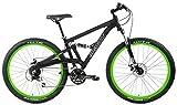Gravity FSX 27.5 LTD 650b Dual Suspension Mountain Bike Alivio 24 Speed (Black with Green Wheels, 21 inch = Large fits 6'2' to 6'5'