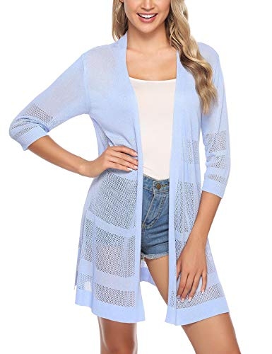 (iClosam Women Casual 3/4 Sleeve Knit Open Front Cardigan Sweater)
