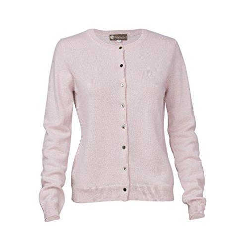 Women's Cashmere Round Neck Cardigan (Pale Blossom, (Pale Blossom Apparel)