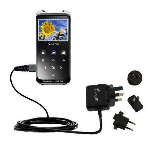 10W Gomadic Steckdosen-Ladegerät AC kompatibel mit Aiptek PocketCinema z20 Pro mit Energiesparmodus und TipExchange