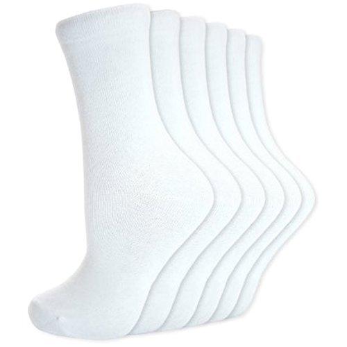 12 Pares infantil Botines cortos de Algodón Liso Calcetines Escolares R1 - Blanco, 4 - 5.5