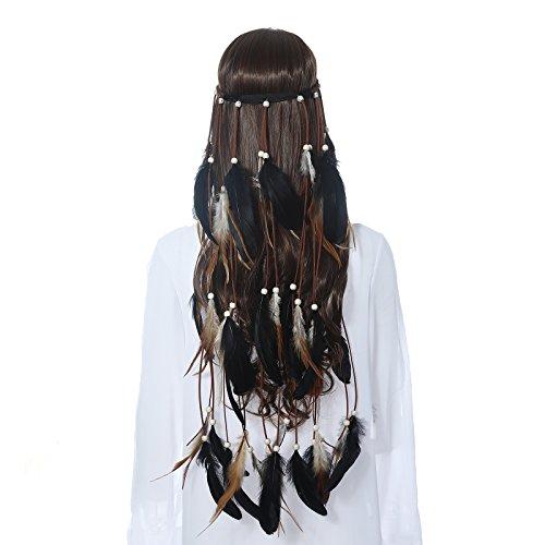 Hippie Feather Headband Boho Headdress - AWAYTR Feather Crown Elastic Gypsy Festival Headband Indian Hair Accessories (Black)