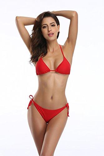 (SHEKINI Women's Tie Side Bottom Push up Padded Top Triangle Bikini Bathing Suit (Rose Red, XSmall))