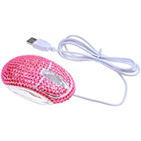 Eco-Fused USB Optical Computer Mouse with Crystal Bling Rhinestone design with Retail Packaging (Pink Rhinestones)
