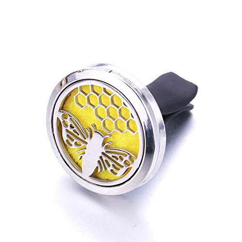 Aromabug Regular Size (Bee Hive) 30mm Car Aromatherapy Essential Oil Diffuse Stainless Steel Locket Air Freshener with Vent Clip 7 Pads 3 Oils.