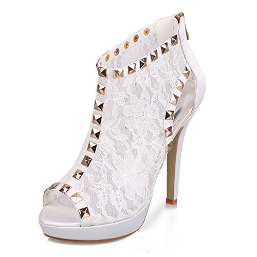 Shoes White Bridal Floral US High Wedding Stiletto Peep Sandals 8 5 Toe Ankle Zip Party Minishion Evening Womens GYTH13139 Heel Lace Sequin Boots q0zxATO