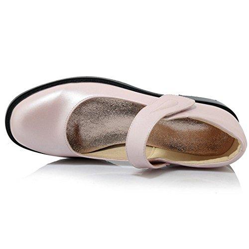 COOLCEPT Zapatos Mujer Moda British Style Vintage Sin Cordones Tacon De Vaquero College Zapatos Rosado