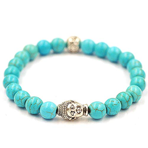 (NIHAI Unisex Natural Agate Bracelet Bangle, Buddha Elastic Beaded Charm Bracelet Jewelry for Birthdays Anniversaries Girlfriend Gifts (Blue))