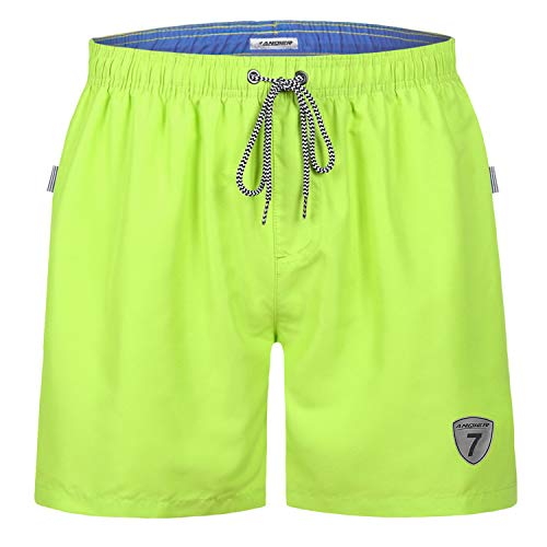 9646bb1a67 LANYI Mens Swim Trunks Swimming Beach Surfing Board Shorts Swimwear Quick  Dry Mesh Lining Bathing Suits with Pockets (Lemon Green, XL)