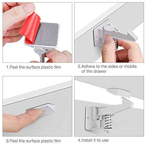 12 pack Baby Safety Locks Latch for Drawers Adhesive No Drilling Come with 4 pack Outlet Covers White Child Proof Cabinet Locks