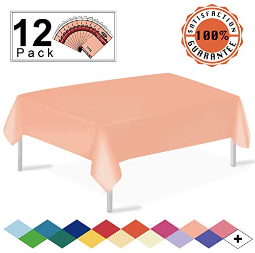- 12 Pack Plastic Tablecloth Peach Disposable Table Covers Premium 54 x 108 Inches Table Cloth for Rectangle Tables up to 8 Feet and for Picnic Birthdays Weddings any Events Occasions, PEVA Material