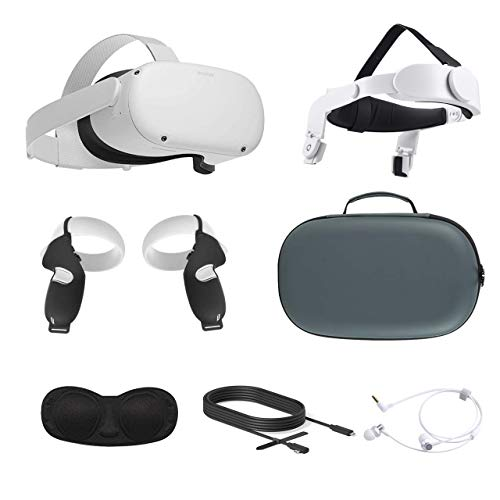 2021 Oculus Quest 2 All-In-One VR Headset, Touch Controllers, 256GB SSD, Glasses Compatible, 3D Audio, Mytrix Head Strap, Carrying Case, Earphone, Oculus Link Cable (3M), Grip Cover, Lens Cover