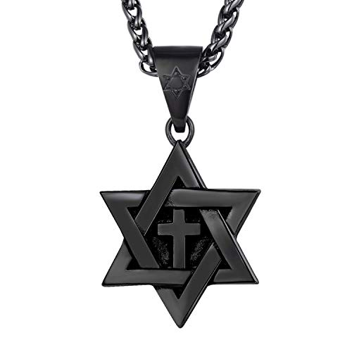 (U7 Star of David Jewelry Stainless Steel / 18K Gold Plated Six Pointed Megan Star Pendant Necklace/Brooches, 3 Pattern Design Cross, Eye of Horus or Heart (Black-Metal-Plated-Stainless-Steel))