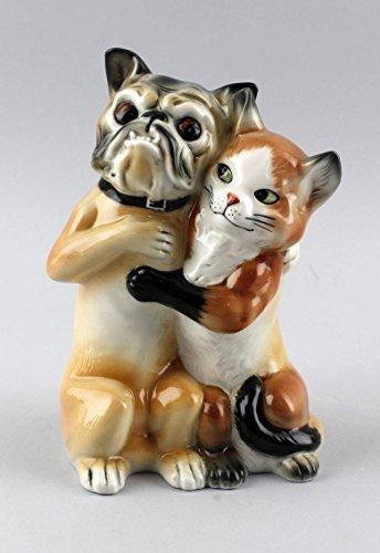 Porcelana Figura perro y gato como Pareja