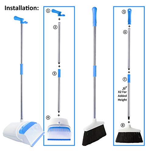 Broom And Dustpan Set - Strongest 30% Heavier Duty - Upright Standing Dust Pan With Extendable Broomstick For Easy Sweeping - Easy Assembly Great Use For Home, Office, Kitchen, Lobby Etc.- By Kray by kray (Image #2)