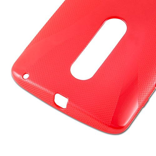 Cadorabo - Motorola MOTO X PLAY Cubierta protectora de silicona TPU en diseño X-Line - Case Cover Funda Carcasa Protección en ÓXIDO-NEGRO ROJO-INFIERNO