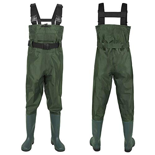 7da5b3dfb04d1 GLMHRNNA Hunting Waders,Cleated BootFoot Chest Waders Waterproof Insulated  Breathable Nylon and PVC Hunting Boot Waders with Waist Belt (Green-M12)