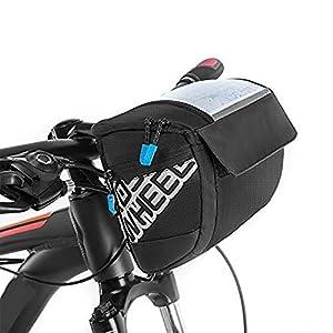 Docooler Fahrrad Lenkertasche multifunktional mit Transparentem PVC-Sichtfenster fürn Handy, 3L, wasserdichtes Material…