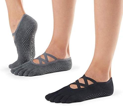 Toesox Grip Pilates Barre Socks Non Slip Luna Full Toe for Yoga /& Ballet