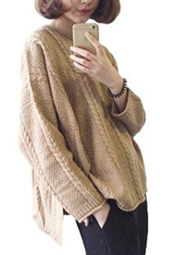 プラスチック勤勉祭り[ニブンノイチスタイル]1/2style 丸首 大きめ 無地 ケーブル 編み ニット セーター レディース