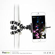 Fheimin® Black & White Octopus Style Portable and adjustable Tripod Stand with Mount / Holder for iPhone 6,6s, 5s, 5c, 5,4s, 4, Tripod Holder for Mobile Phone
