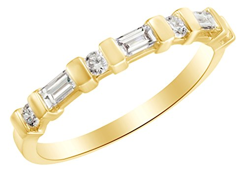 Baguette & Round Cut White Natural Diamond Anniversary Band Ring In 14k Yellow Gold (0.38 cttw) Ring Size-9 14k Yg Round Cut Diamond