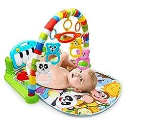 Laurelmartina Multifunción Baby Play Mat Niño Gimnasio Piso de Juguete Manta de Arrastre Alfombra con Música Piano Pedal Marco de Fitness Bebé Juguete