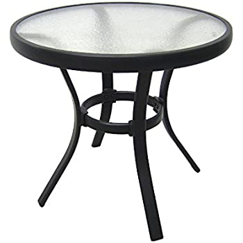 outdoor side table black steel small round tempered glass top patio yard or porch. Black Bedroom Furniture Sets. Home Design Ideas