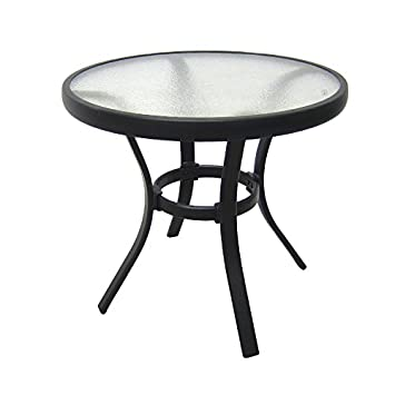 Amazoncom Outdoor Side Table Black Steel Small Round Tempered