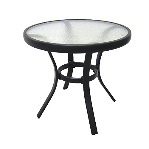 Amazon.com : Outdoor Side Table Black Steel Small Round Tempered Glass Top  Patio Yard Or Porch End Table : Patio, Lawn U0026 Garden
