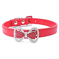 Neonr Bling Rhinestone Bow Tie Pet Cat Dog Collar Necklace Jewelry with Black,Pink,Red,Rose Red,Blue Colour for Small or Middle Cat Dog Pets.
