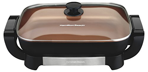 Hamilton Beach 38529 Electric Ceramic Skillet, 15 Inch Deep Dish, Copper & Black