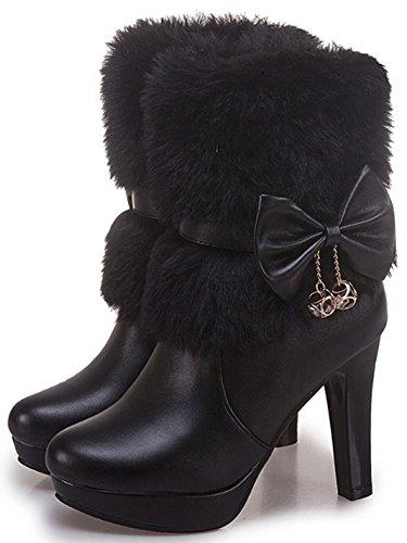Idifu Mujeres Elegant Fluffy Fur Zip Up Chunky De Tacón Alto Puntiagudo Botines Con Arcos Negros