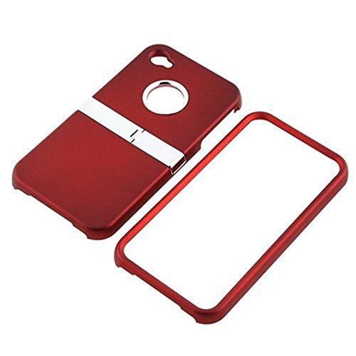 Caja protectora - SODIAL(R) Caja de broche compatible con Apple iPhone 4/iPhone 4S, Rojo con soporte de cromo