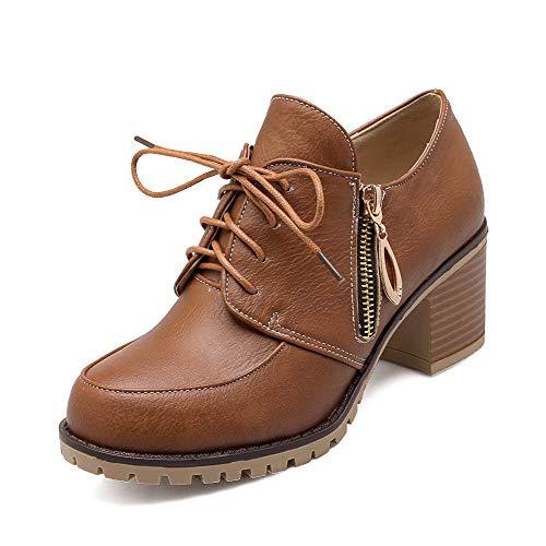 Tsmdh003356 Cordones Zapatos Tacón De Puntera Sintético Cerrada Medio Marrón Mujeres Tacón Aalardom nZRFUfqq