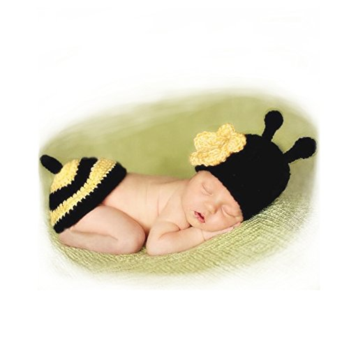 Baby Infant Photograph Props , Lovely Bee Type Baby Outfit With Hat Band Unisex