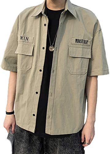 メンズ シャツ 半袖 スリムフィット 無地 おしゃれ ポケット付き カジュアル ゆったり 大きいサイズ 夏服 2カラー