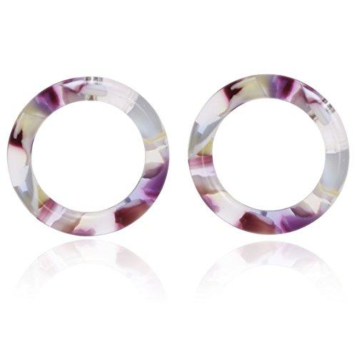 - Mottled Circle Shape Acrylic Resin Basic Stud Earrings for Women