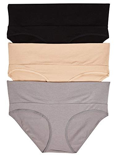Motherhood Maternity Womens Maternity 3 Fold Over Brief Panties, Black, Nude, Flat Grey/Multi Pack, Medium