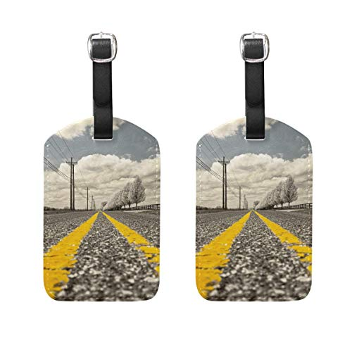 Nfuquyamluggage Road Sky Parallel Luggage Tages Travel Labels Suitcase Bag Tag with Name Address Cards 2 Pack