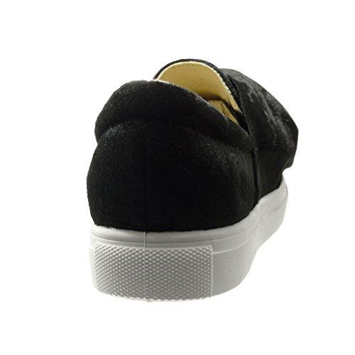 Angkorly - Zapatillas de Moda Deportivos Mocasines low mujer nodo Talón tacón plano 0 CM - Negro