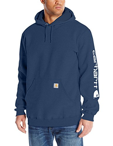 Blue Big Logo Hoodie - Carhartt Men's Big & Tall Signature Sleeve Logo Midweight Sweatshirt Hooded,New Navy,XXX-Large Tall