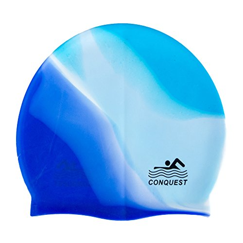 HEART SPEAKER Beach Pool Waterproof Silicone Swim Cap Adult Hair Protect Flexible Swimming Hat (Blue + White)