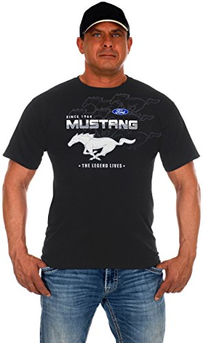 JH Design Men's Ford Mustang Gray Collage Short Sleeve Crew Neck T-Shirt (X-Large, CLG0-Gray)