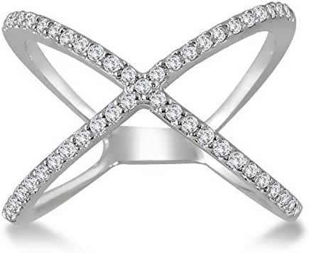AGS Certified 1/2 Carat TW Diamond Criss Cross X Ring in 10K White Gold (K-L Color, I2-I3 Clarity)