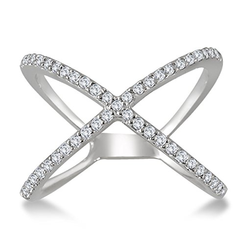 AGS Certified 1/2 Carat TW Diamond Criss Cross X Ring in 10K White Gold (K-L Color, I2-I3 Clarity) (1/2 Ct Tw Diamond Cross)