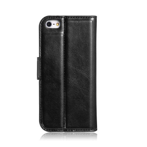 Kunstleder Tasche für iPhone 5 5S 5-S 5SE, Book-Style Handytasche Schutz Hülle Wallet Etui Schutzhülle Cover - Schwarz / Black